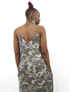 MONICA CAMOUFLAGE CAMI MAXI DRESS WITH POCKETS