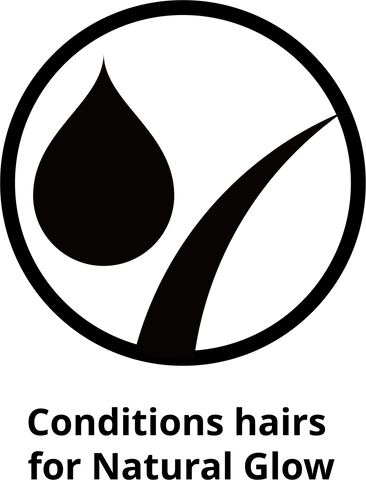 "An icon of a hair and water drop that reads ""conditions hair for natural glow"""