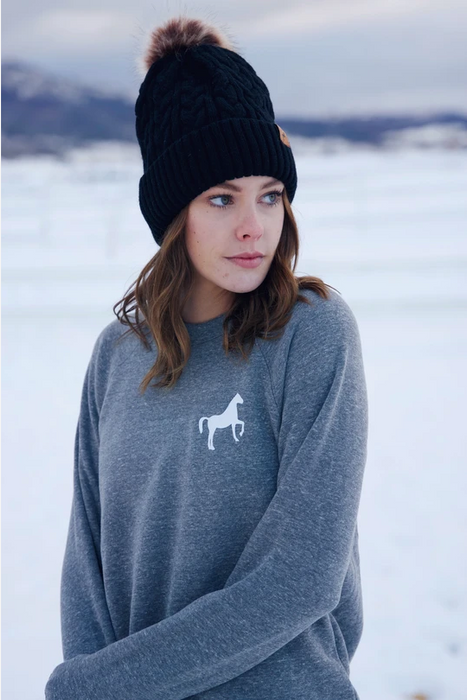 Scope Equestrian Go Higher Crew Neck in Heather Grey