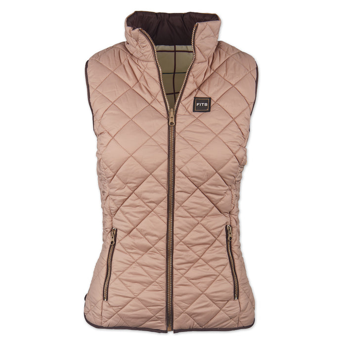 FITS Everly Reversable Quilted Vest Fawn/White