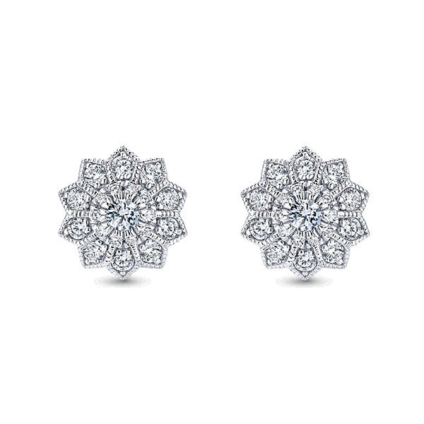 14k White Gold Halo Stud Earrings