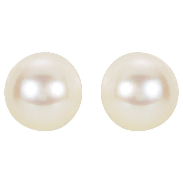 14K White 6mm White Akoya Cultured Pearl Earrings