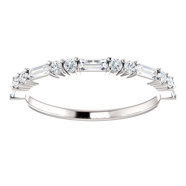 14K White Gold Diamond Stackable Wedding Band