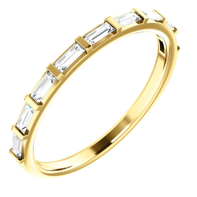 14K Yellow Gold Diamond Stackable Wedding Band