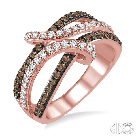14K Rose Gold Ring with Diamonds and Champagne Diamonds