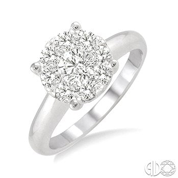 Lovebright Round Cut Diamond Ring in 14K White Gold