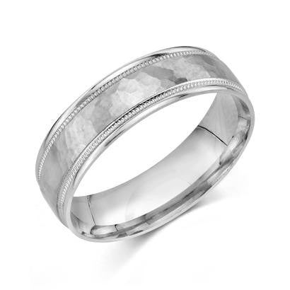 Hammered Inlay Wedding Ring in 14k White Gold (6mm)