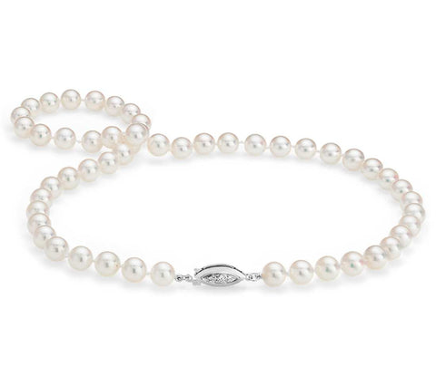 "18"" White Freshwater Pearl Necklace (AA+)  7-7..5 mm"