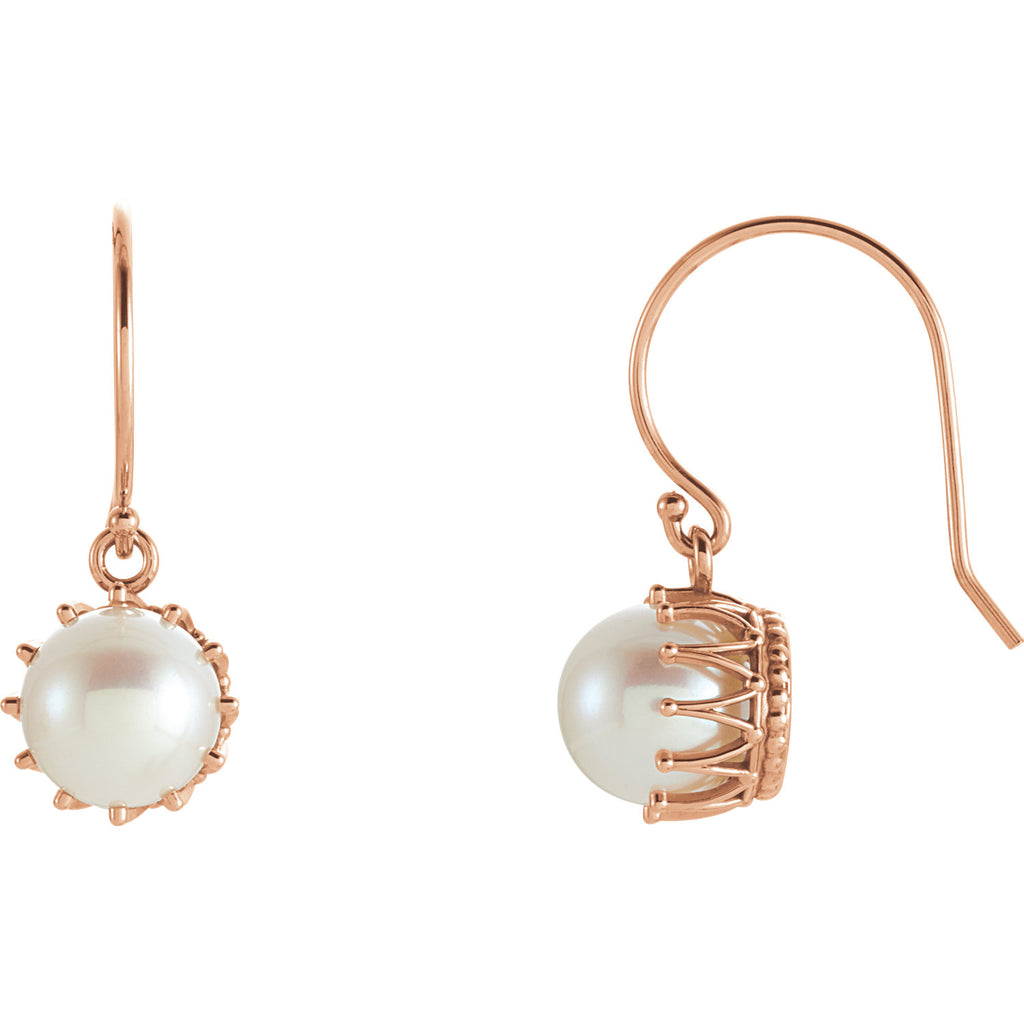 14K Rose Gold Pearl Earrings