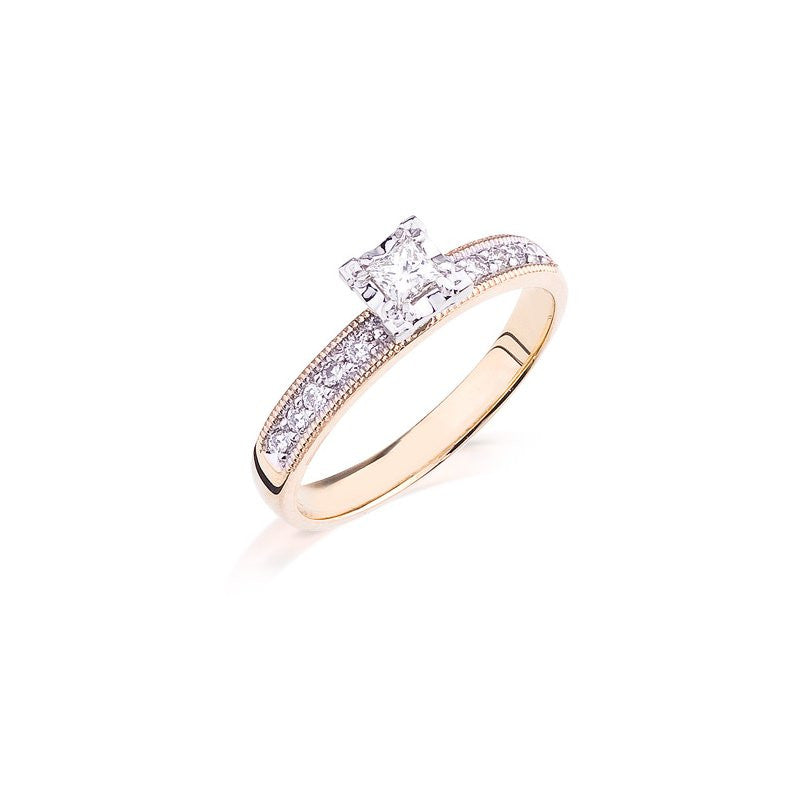 Camelot 10k Yellow Gold Engagement Ring (Princess Cut)