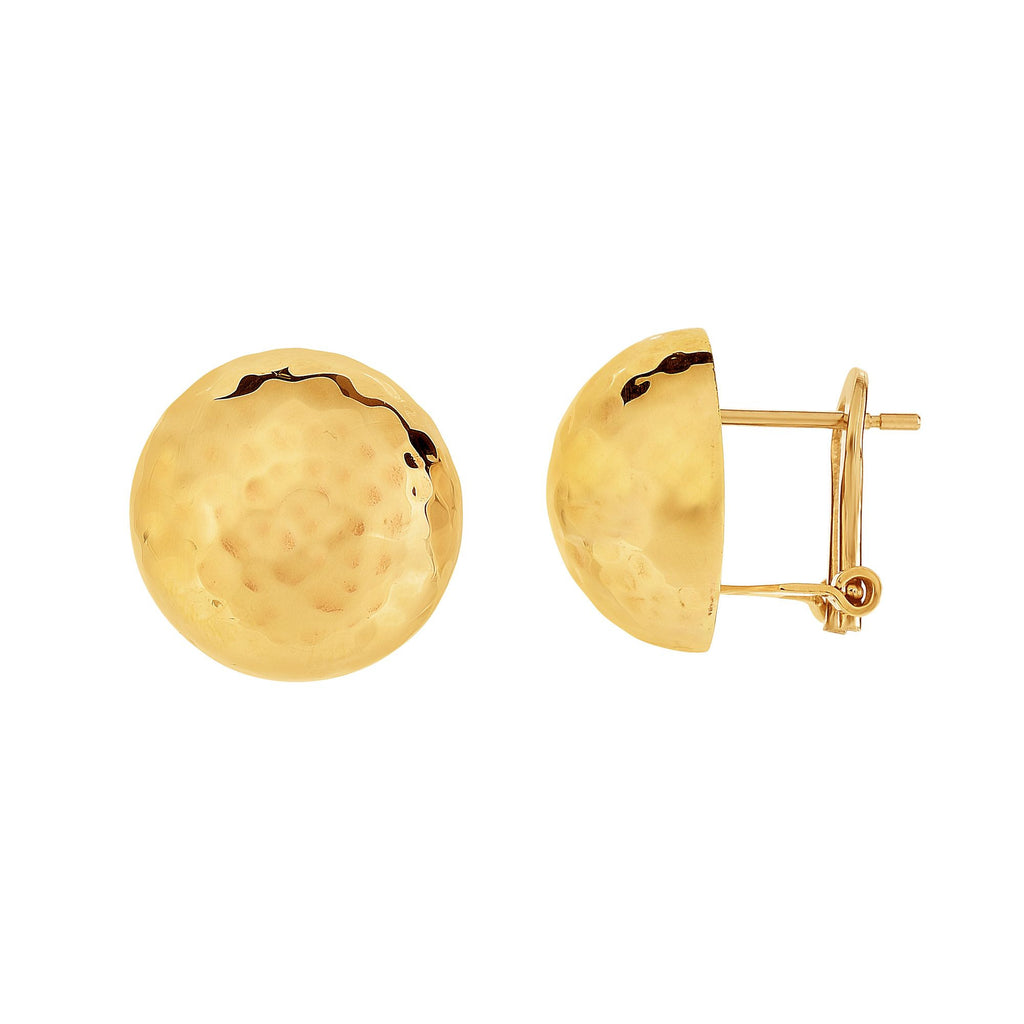 14k Yellow Gold Hammered Ball Earrings