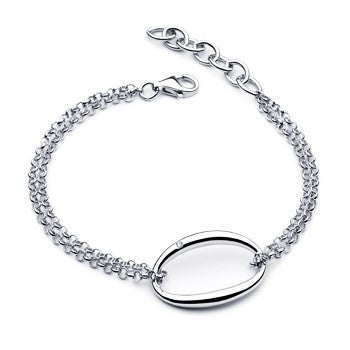 Diva Diamond Double Chain Oval Bracelet