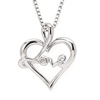 Sterling Silver Diamond Love Pendant
