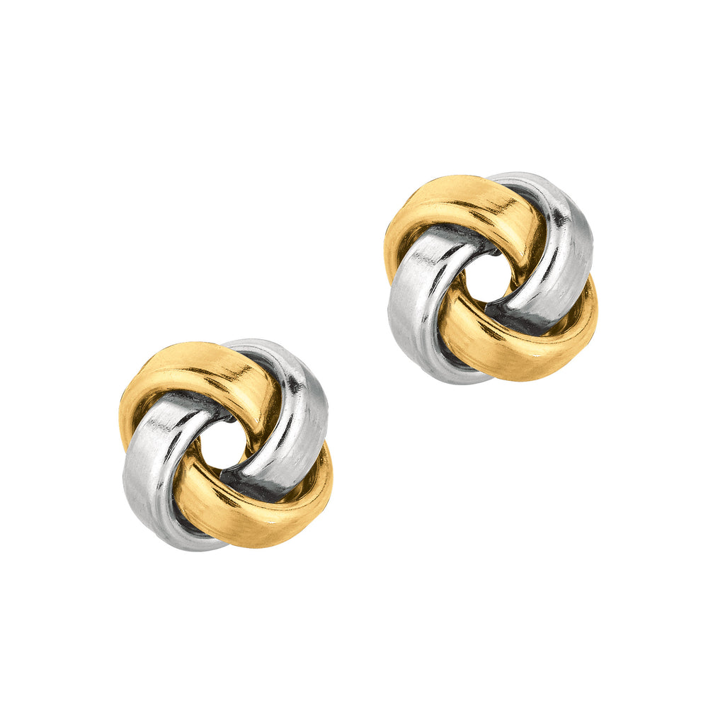 14k TwoTone Gold Polished Love Knot Earrings