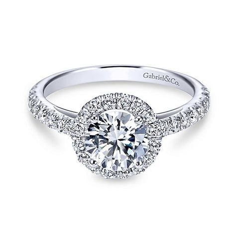 14k White Gold Round Halo-Rachel