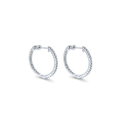 14k White Gold Hoops Classic Hoop (16mm)