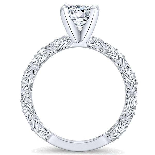 14k White Gold Round Straight (Semi Mount)
