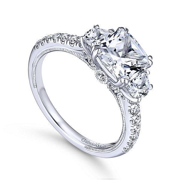 14k White Gold Cushion Cut 3 Stones- (semi-mount)