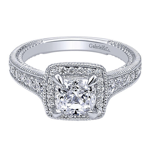 14k White Gold Cushion Cut Halo- (semi-mount)