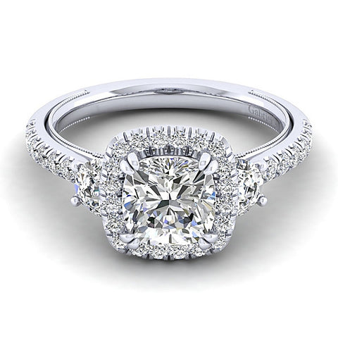 Vintage 14k White Gold Cushion Cut Halo (semi-mount)