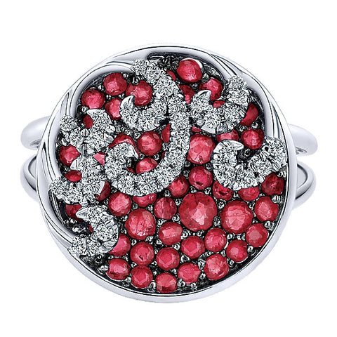 14k White Gold Diamond And Ruby Fashion Ring