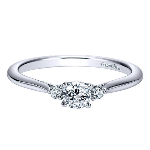 14k White Gold Diamond 3 Stones Engagement Ring