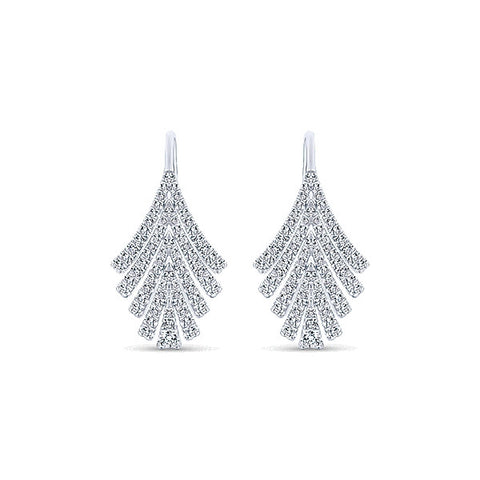 14k White Gold Art Moderne Drop Earrings (25.70mm)