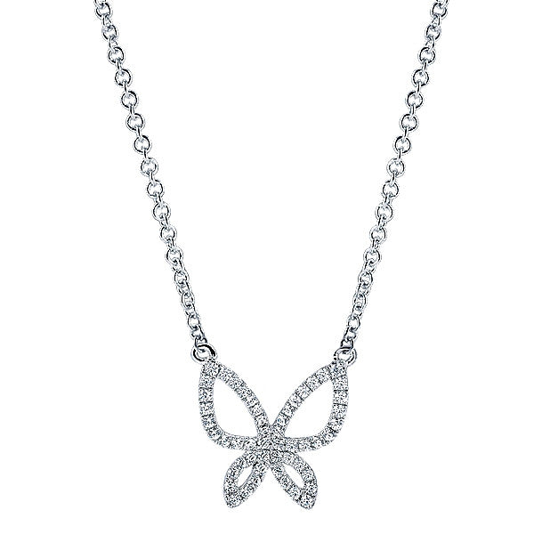 14k White Gold Butterfly Fashion