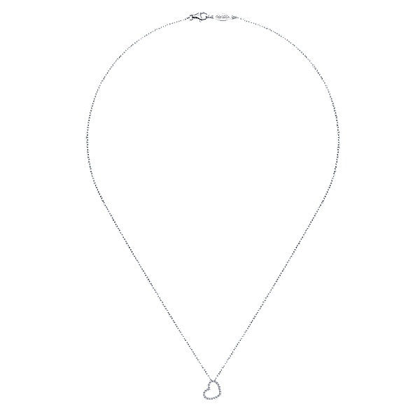 14k White Gold Heart Necklace
