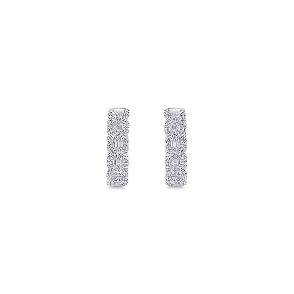 14k White Gold Huggie  (12 mm)