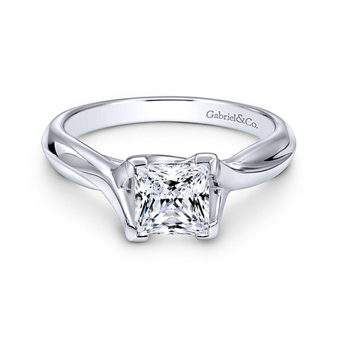 14k White Gold Princess Cut Straight- (semi-mount)