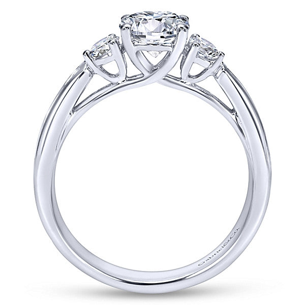 14K White Gold Round 3 Stones-  (semi-mount)