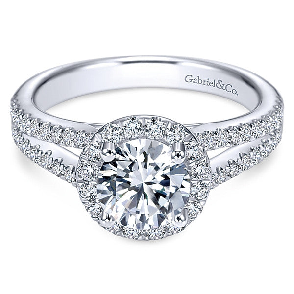 14k White Gold Round Halo- (semi-mount)