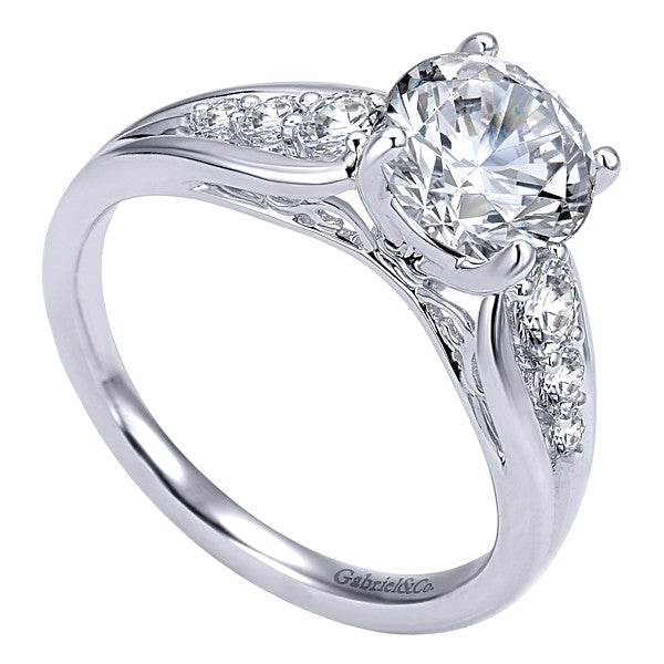 14k White Gold Round Straight- (semi-mount)