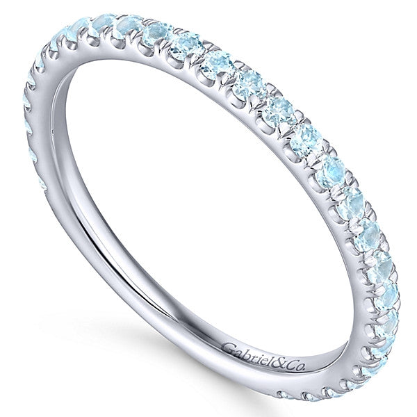 14K Sky Blue Topaz Stackable Band