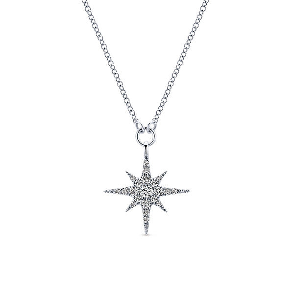 14K White Gold Star Fashion Necklace