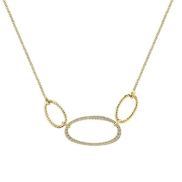 14k Yellow Gold Oval Necklace