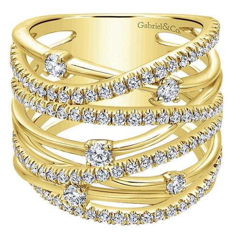 14k Yellow Gold Wide Band  Ladies' Ring