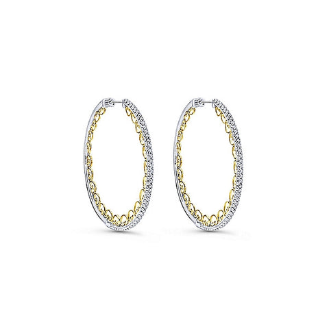14k Yellow/White Gold Intricate Hoops (40mm)