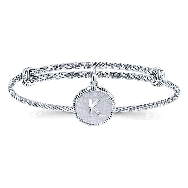 "925 Silver/Stainless Steel ""K"" Initial Bangle"