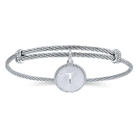 "925 Silver/Stainless Steel ""T"" Initial Bangle"