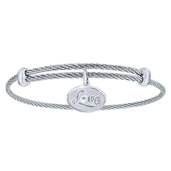 "925 Silver/Stainless Steel ""LOVE"" Charm Bangle"