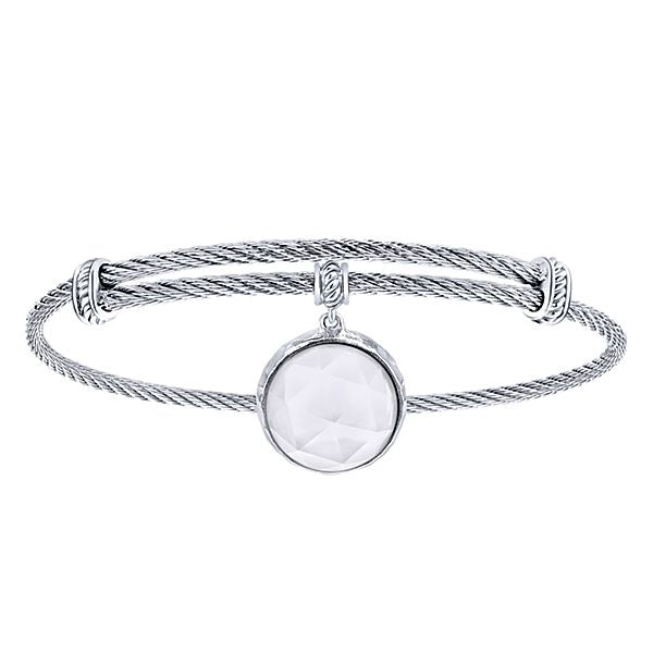 925 Silver/Stainless Steel Mother of Pearl with  Rock Crystal Charm Bangle