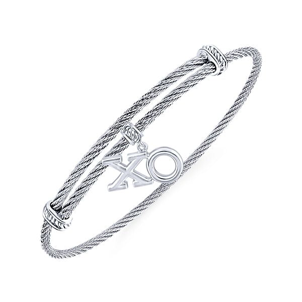 "925 Silver/Stainless Steel ""XO"" Charm Bangle"