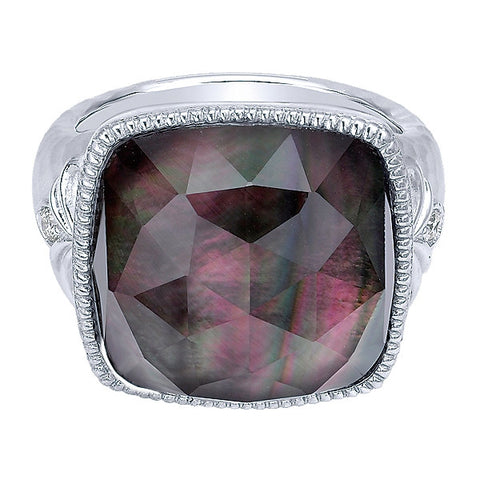 925 Silver Diamond Rock Crystal & Black Pearl Fashion Ring