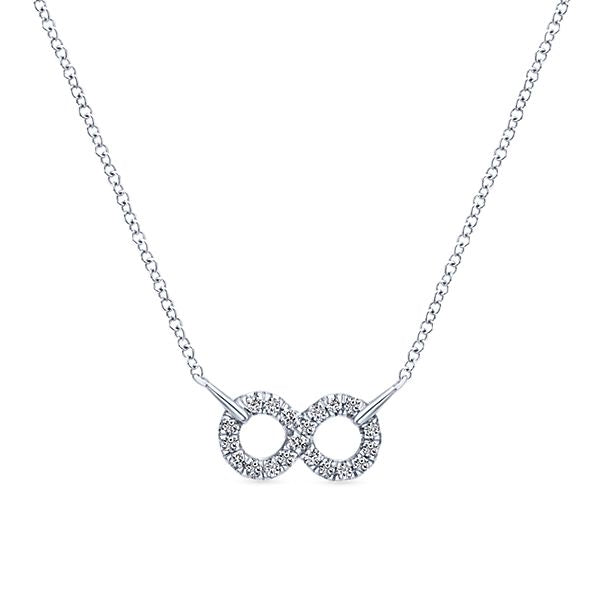 Silver Fashion White  Infinity Sapphire Necklace