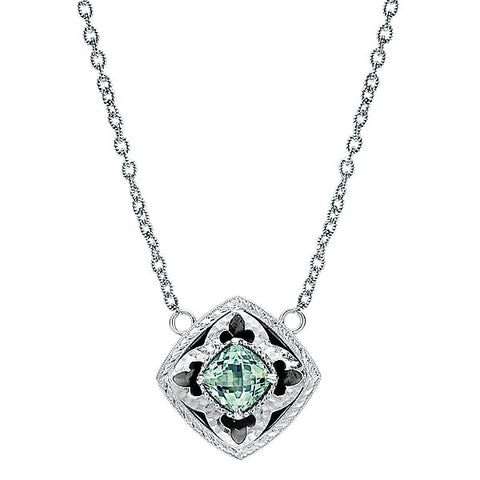 925 Silver Green Amethyst Fashion Necklace