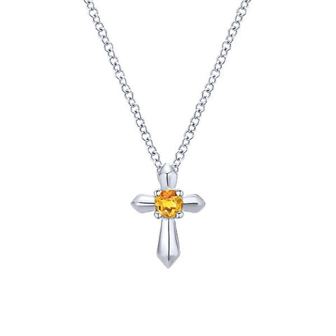925 Silver Cross with Citrine Necklace (Nov)