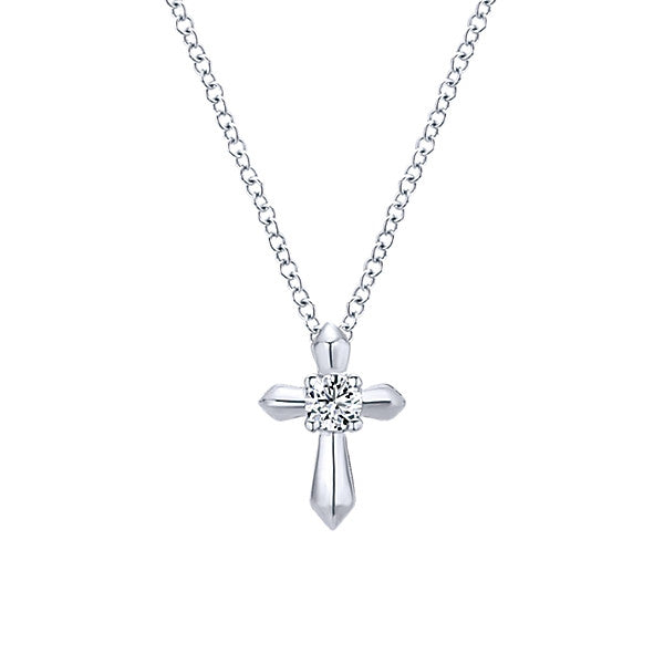 925 Silver Cross Necklace with Cubic Zirconium  (April)