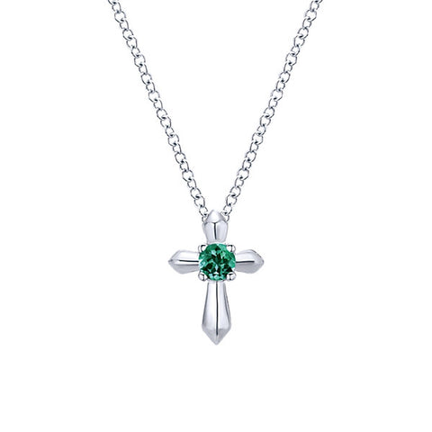 925 Silver Cross Necklace with Round Emerald (May)